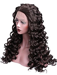 Women Synthetic Wig Lace Front Long Loose Wave Dark Brown With Baby Hair Halloween Wig Long Natural Wigs Costume Wig