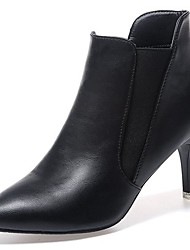 cheap -Women's Shoes PU Fall Comfort Fashion Boots Boots Stiletto Heel Pointed Toe Mid-Calf Boots Gore For Casual Black