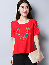 Women's Casual/Daily Chinoiserie T-shirt,Embroidery Round Neck Short Sleeves Cotton Linen