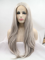 cheap -2017 Sylvia Synthetic Lace Front Wigs Silver Grey Heat Resistant Synthetic Wig