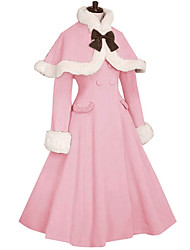 cheap -Winter Sweet Lolita Cape Coat Princess Women's Girls' Coat Cosplay Pink Black Blue Red Fuschia Long Sleeves