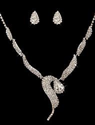 cheap -Women's Drop Earrings Necklace Rhinestone Wedding Party Alloy Geometric Necklace Earrings