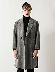 Men's Party Work Simple Vintage Casual Winter Fall Coat,Solid Notch Lapel Long Sleeve Long Wool Cotton Rayon Oversized