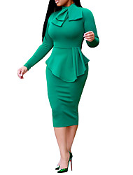 Недорогие -Для женщин На каждый день Офис Весна Осень Юбки Костюмы Вырез под горло,Простой Уличный стиль Однотонный Ретро Бант Слабоэластичная