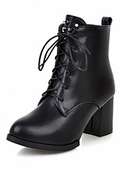 cheap -Women's Shoes PU Leatherette Fall Winter Comfort Novelty Bootie Boots Chunky Heel Round Toe Booties/Ankle Boots Lace-up For Party &