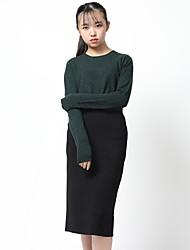 Standard Cashmere Da donna-Casual Ufficio Semplice Vintage Sensuale Moda città sofisticato Tinta unita Rotonda Manica lunga Cashmere