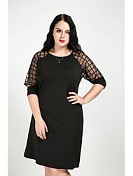 hesapli -Kadın's Büyük Bedenler Vintage Pamuklu Kombinezon Elbise - Solid / Kareli, Örümcek Ağı Diz-boyu