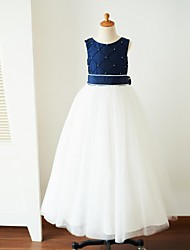 Ball Gown Floor Length Flower Girl Dress - Satin Tulle Sleeveless Jewel Neck with Pearl Detailing Sash / Ribbon by Thstylee