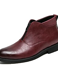 cheap -Men's Shoes Leatherette Winter Fall Novelty Boots Booties/Ankle Boots Split Joint for Casual Black Red