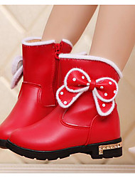 Girls' Shoes PU Leatherette Winter Fashion Boots Boots Booties/Ankle Boots For Casual Blushing Pink Red Black