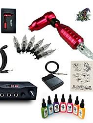 Kit de tatuagem Inicial 1xMáquina Tatuagem rotativa para linhas e sombras Máquina de tatuagem Fonte de Alimentação mini 7 × 15ml Tinta de