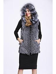 Feminino Colete Casual Sofisticado Outono Inverno,Estampa Colorida Padrão Pêlo de Raposa Com Capuz
