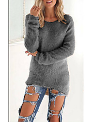 preiswerte -Damen Langarm Pullover-Solide