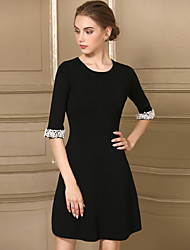 Women's Casual/Daily Simple Sheath Dress,Solid Round Neck Above Knee Half Sleeves Acrylic Fall Mid Rise Stretchy Medium
