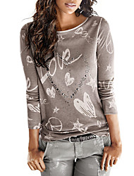 cheap -Women's Daily Going out Casual Street chic Spring Fall T-shirt,Print Round Neck Long Sleeves Polyester Medium