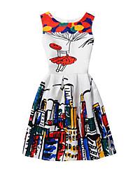 abordables -Robe Fille de Anniversaire Quotidien Sortie Vacances Jacquard Bande dessinée Coton Polyester Printemps Eté Sans Manches Robe trapèze