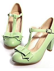 Недорогие -Жен. Обувь Полиуретан Весна Осень Оригинальная обувь Удобная обувь Обувь на каблуках Круглый носок Бант Пряжки для Офис и карьера Для