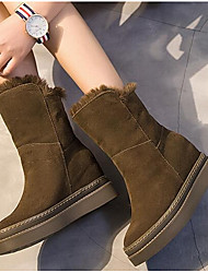 Women's Shoes PU Fabric Winter Fluff Lining Snow Boots Fashion Boots Boots Flat Heel Booties/Ankle Boots For Casual Khaki Black