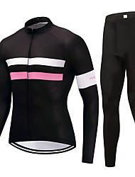 Cycling Jersey with Tights Unisex Long Sleeves Bike Clothing Suits Fast Dry Solid Floral / Botanical Autumn/Fall Cycling/Bike Black