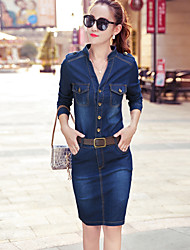 Women's Casual/Daily Work Simple Street chic Sophisticated Sheath Denim Dress,Solid Crew Neck Above Knee Long Sleeves Polyester Others