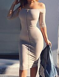 Women's Daily Club Sexy Bodycon Sheath Dress,Solid Boat Neck Knee-length Long Sleeves Cotton Winter Fall Mid Rise Micro-elastic Medium