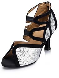 """Femme Latines Paillette Brillante Sandale Spectacle Boucle Talon Cubain Argent / noir 1 """"- 1 3/4"""" 2 """"- 2 3/4"""" Personnalisables"""