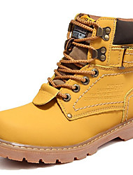 cheap -Women's Shoes Leather Winter Fall Bootie Combat Boots Boots Booties/Ankle Boots Lace-up for Casual Outdoor Yellow Coffee Brown