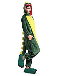 baratos -Pijamas Kigurumi Dinossauro Pijamas Macacão Velocino de Coral Verde Cosplay Para Unisexo Pijamas Animais desenho animado Dia das Bruxas Festival / Celebração