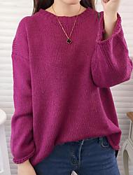 economico -Standard Pullover Da donna-Casual Tinta unita Girocollo Manica lunga Altro Primavera Inverno Medio spessore Media elasticità