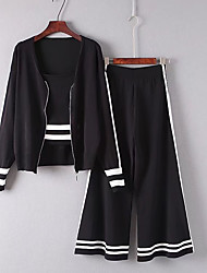 Women's Beach Sexy Summer T-shirt Pant Suits,Solid Color Block V Neck Long Sleeve