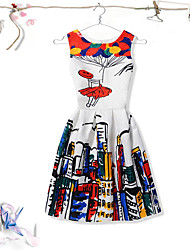 cheap -Girl's Birthday Daily Going out Holiday Print Jacquard Cartoon Dress,Cotton Polyester Spring Summer Sleeveless A-Line Slip Dresses Sweet