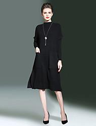 Ample Robe Femme Sortie Décontracté / Quotidien simple,Couleur Pleine Mao Midi Manches Longues Rayonne Polyester Nylon Automne Hiver