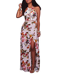Women's Party Club Sexy Vintage Boho Sheath Dress,Floral Halter Maxi Sleeveless Polyester Summer Fall High Rise Micro-elastic Medium