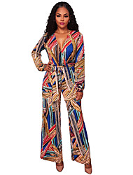 cheap -Women's Party Club Sexy Boho Color Block Print Deep V Jumpsuits,Straight Wide Leg Long Sleeve Spring Fall Polyester Spandex
