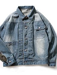 cheap -Men's Vintage Plus Size Denim Jacket - Solid, Oversized