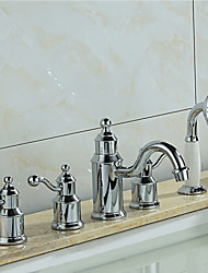 levne -Vana a sprcha Keramický ventil Tři Rukojeti pěti jamkách Pochromovaný, Vanová baterie