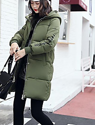 Women's Long Down Coat,Street chic Casual/Daily Work Solid-Cotton Polypropylene Long Sleeves