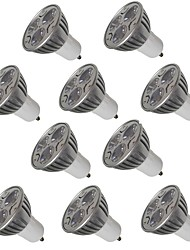 10PCS 3W GU10 LED Spotlight 3 leds Warm White Cold White 250lm 2200-6500K AC 220-240V