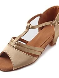 """Kids' Latin Satin Sandal Heel Practice Buckle Chunky Heel Beige 1"""" - 1 3/4"""" Customizable"""