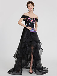 cheap -Ball Gown Off-the-shoulder Asymmetrical Organza Formal Evening Dress with Appliques Ruffles Pleats by TS Couture®