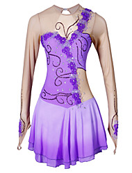 cheap -Figure Skating Dress Women's Girls' Ice Skating Dress Purple Rhinestone Appliques High Elasticity Performance Skating Wear Handmade