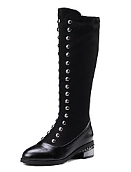 cheap -Women's Shoes Flocking PU Fall Winter Comfort Boots Round Toe Rivet For Outdoor Office & Career Black