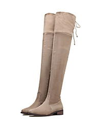 Women's Shoes Suede Fall Winter Comfort Novelty Fashion Boots Boots Flat Heel Pointed Toe Thigh-high Boots Mid-Calf Boots Lace-up For