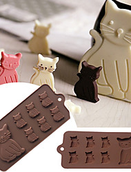 cheap -Lovely Cat Kitten 7 Cavity Silicone Mold for Fondant Gum Paste Chocolate Cookie Cake Tools