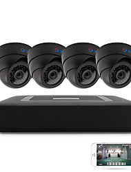 4CH 5-in-1 DVR Kits 4pcs Dome IR Night Vision CCTV Camera Security System P2P