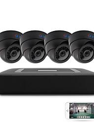 4ch 5-en-1 dvr kits 4pcs cúpula ir cámara de visión nocturna cctv sistema de seguridad p2p