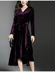 Gaine Robe Femme Décontracté / Quotidien Imprimé Col en V Mi-long Manches Longues Polyester Automne Taille Normale Micro-élastique Opaque
