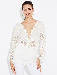 cheap -Women's Holiday Going out Beach Sexy Street chic Spring Summer Shirt,Solid Jacquard V Neck Others Translucent