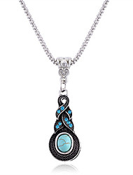 cheap -Women's Pendant Necklaces Turquoise Oval Ball Turquoise Alloy Vintage Bohemian Jewelry For Gift Casual
