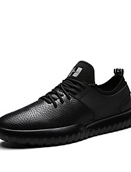 cheap -Men's Shoes Leather Winter Fall Comfort Sneakers Lace-up for Casual Outdoor Black Gray